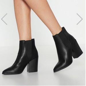 NWOB NastyGal Faux Leather Chelsea Booties